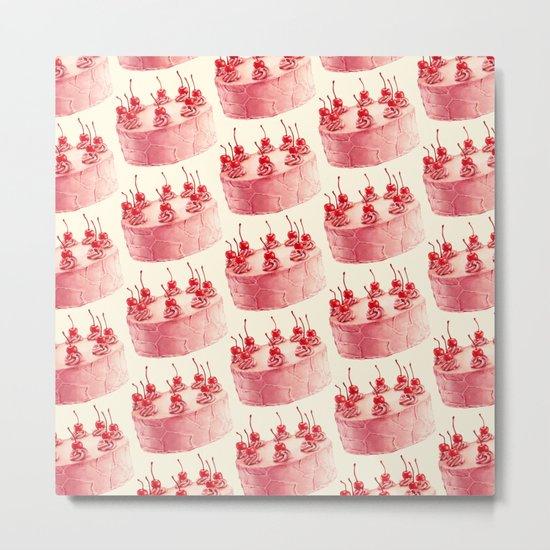 Cherry Cake Pattern Metal Print