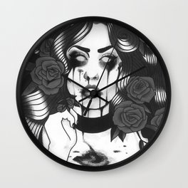 Roses in Black & White Wall Clock