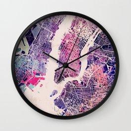 New York Mosaic Map #1 Wall Clock