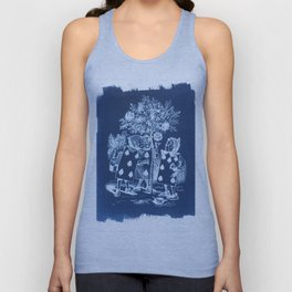 Painting the Roses Red Cyanotype Unisex Tank Top