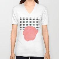 polka dot V-neck T-shirts featuring polka dot by Ceren Aksu Dikenci