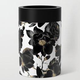 Modern Elegant Black White and Gold Floral Pattern Can Cooler