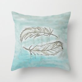 Feathers and memories Throw Pillow