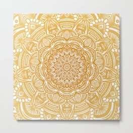 Golden Mustard Yellow Orange Ethnic Mandala Detailed Metal Print