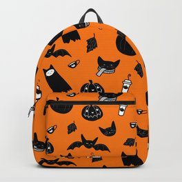 Spooky Halloween Cats and Coffee Backpack