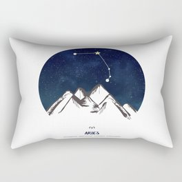 Astrology Aries Zodiac Horoscope Constellation Star Sign Watercolor Poster Wall Art Rectangular Pillow