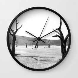 deadvlei desert trees acrbw Wall Clock