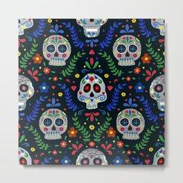 Dia de los Muertos Sugar Skulls Metal Print