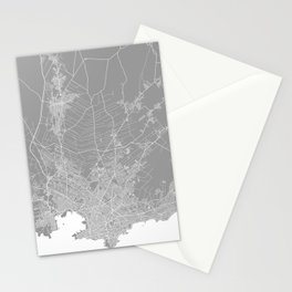 Montevideo map grey Stationery Cards