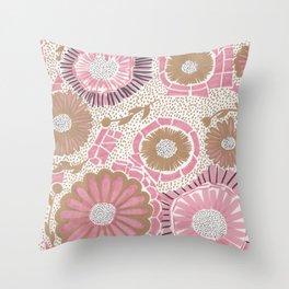 Pink & Gold Flowers Throw Pillow