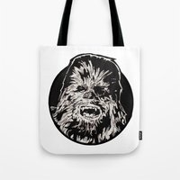 chewbacca Tote Bags featuring Chewbacca by LaurenNoakes