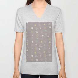 Pastel brown pink yellow Christmas snow flakes stars pattern Unisex V-Neck