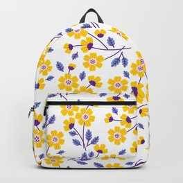 Floral pattern. Yellow flowers. Backpack