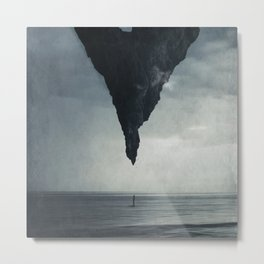 What If - Person Under a Giant Rock Metal Print