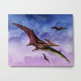 Flying Pterodactyls in the Sky Metal Print
