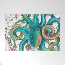 Teal Octopus Tentacles Vintage Map Nautical Welcome Mat