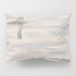 Neutral Driftwood Light Gray Abstract Beachy Painting Pillow Sham