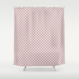 Pink - gray and white checkered pattern Shower Curtain