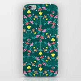Folk Flowers Green iPhone Skin