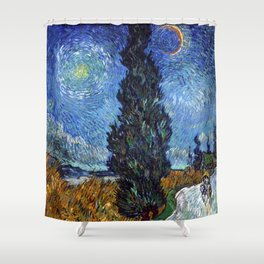 Vincent van Gogh - Road with Cypress and Star Shower Curtain