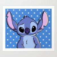 lilo and stitch Art Prints featuring Lilo and Stitch - Stitch by Julia Kolos