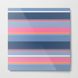 70s Style Simple Colored Stripes - Blues  Pinks Peach Metal Print
