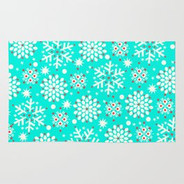 Retro Winter Collection Snowflake Teal Rug