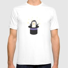 Penguin magician   White MEDIUM Mens Fitted Tee