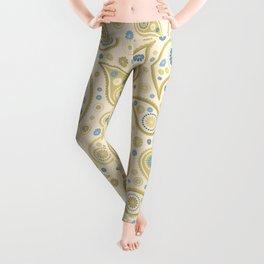 Paisley Funky Design Cream Golds Blues Leggings