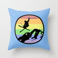 skiing Throw Pillows featuring skiing 2 by Paul Simms