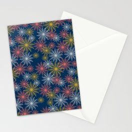 Swirl Firework Pattern Deep Blue Stationery Cards