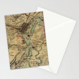 Vintage Savannah Georgia Civil War Map (1864) Stationery Cards