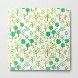 Watercolor forest in doodle style Metal Print