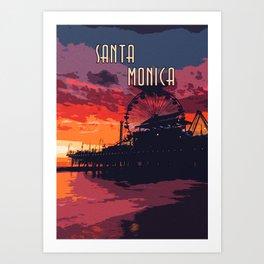 Sunset in Santa Monica, California Art Print