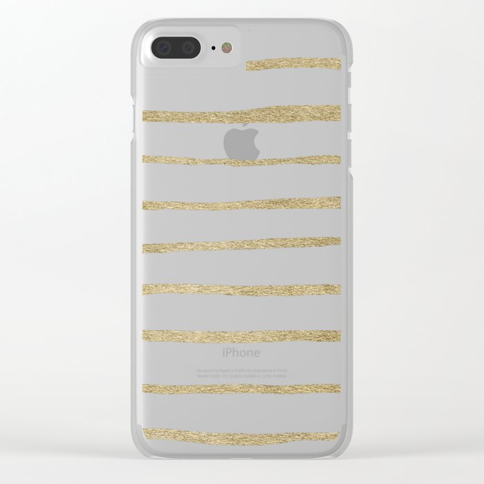 Gold Stripes Clear iPhone Case