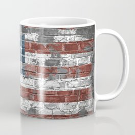 american flag on the brick Coffee Mug
