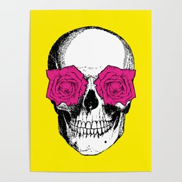 Skull and Roses | Yellow and Pink Poster