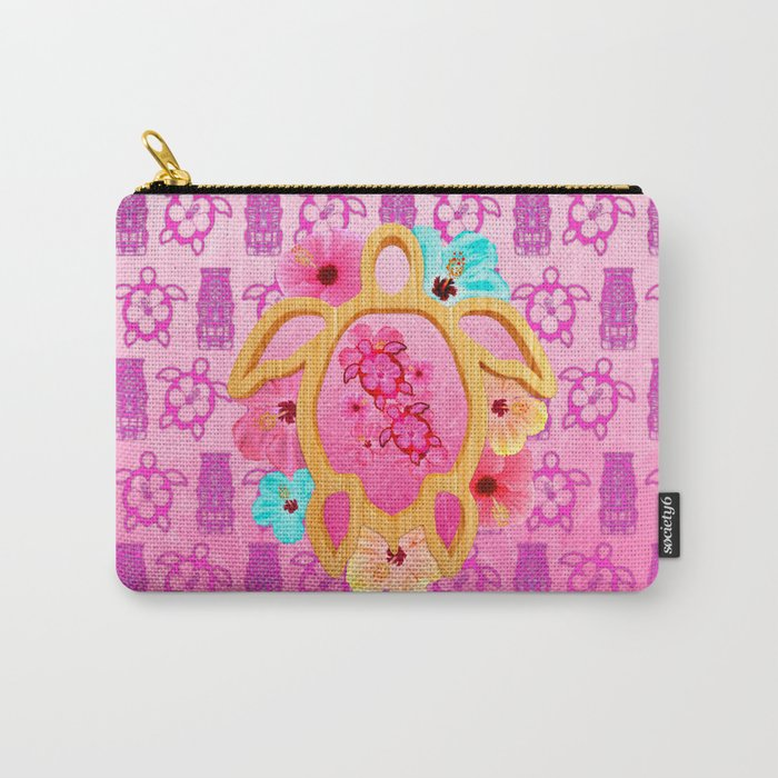 Hawaiian Pink Honu Carry-All Pouch