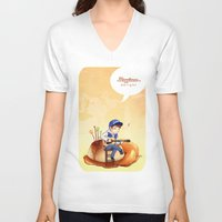 exo V-neck T-shirts featuring EXO Chanyeol on caramel pudding by Rei Lydia