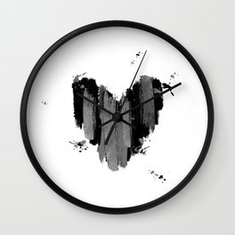 Black And Grey Abstract Love Heart Wall Clock