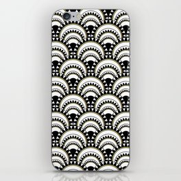 Monochrome and Gold Art Deco Scallops iPhone Skin