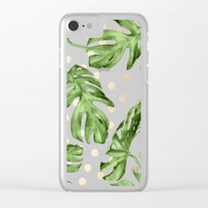 Simply Tropical White Gold Sands Dots and Palm Leaves Clear iPhone Case