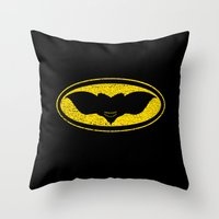 gotham Throw Pillows featuring Gotham Gremlin by JVZ Designs