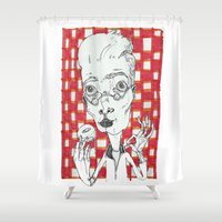 doughnut Shower Curtains featuring Doughnut Taster by Maria Nikla