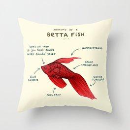 Anatomy of a Betta Fish Throw Pillow