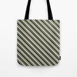 Cream Yellow and Black Diagonal LTR Var Size Stripes Tote Bag