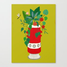 Red midcentury Bay vase Canvas Print