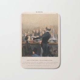 A chemist gives a demonstration involving arsenic to an audience. Coloured lithograph by H. Daumier, Bath Mat