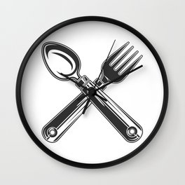 Dining set - a spoon and a fork. Lover to eat. Hungry. Glutton. Heavy eater. Eat. Food. Wall Clock