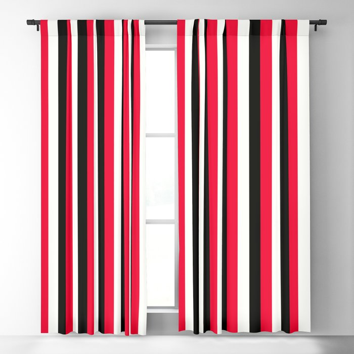 Red Black White Blackout Curtain By